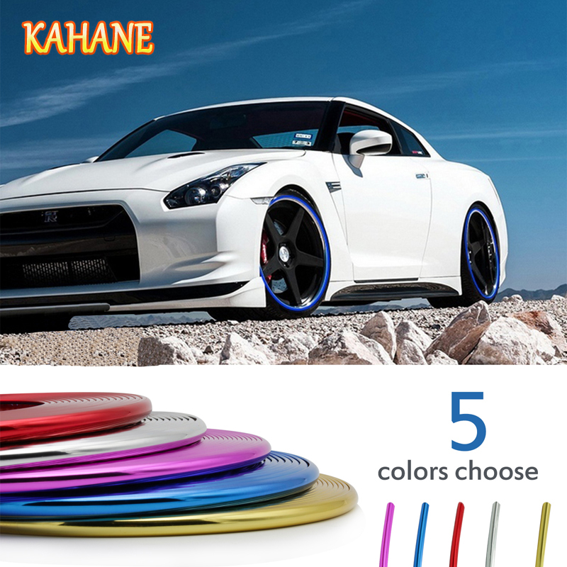 KAHANE Car Styling 8M Wheel Hub Tire Sticker Car Wheel/Rim/Tire Decorative Strip Cover For Peugeot 208 307 407 508 Ford Focus