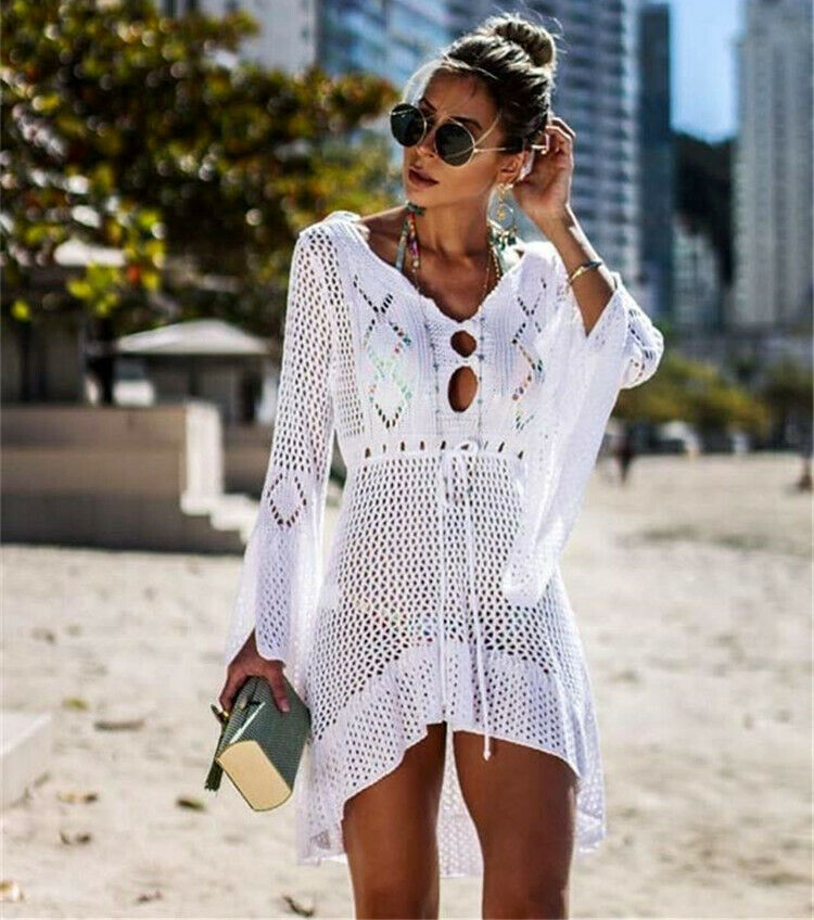 Sexy Women Summer Bikini Cover-Ups Beach Dress Sarong Kaftan Lace Crochet Casual Ladies Female Beach Wear Bathing Suit