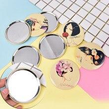 1Pcs Mini Pocket Make-Up Spiegel Leuke Meisje Cosmetische Compact Spiegels Espelho De Maquiagem Espejos De Bolsillo Willekeurige Kleur