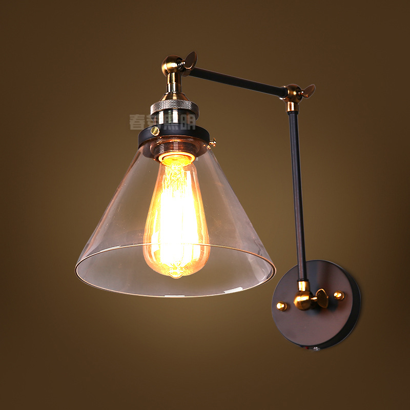 Loft Vintage Industrial Edison Wall lamps Clear Glass Wall Sconce Warehouse Wall Light Fixtures E27 110V/220V Bedside Lighting wholesale price loft vintage industrial edison wall lamps clear glass lampshade antique copper wall lights 110v 220v for bedroom page 5