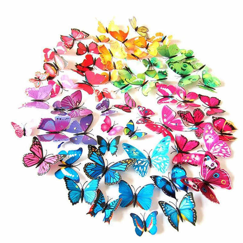 12pcs/set Butterfly Wall Stickers 3D Butterflies Colorful Polka Dot Bedroom Living Room Home Fridage Decoration Dropshipping