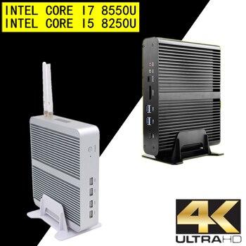 Eglobal Fanless Mini Computer i7 8565U/7560U i5 8250U/7260U 2*DDR4 Msata+M.2 SSD Micro PC Win10 Pro Barebone HTPC Nuc VGA HDMI