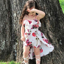 Summer Sling Floral Dress Girl Princess Elegant Ruffles Irregular Culotte Dresses Beach Child Girls Clothes 3 4 6 7 8 10 12 Year