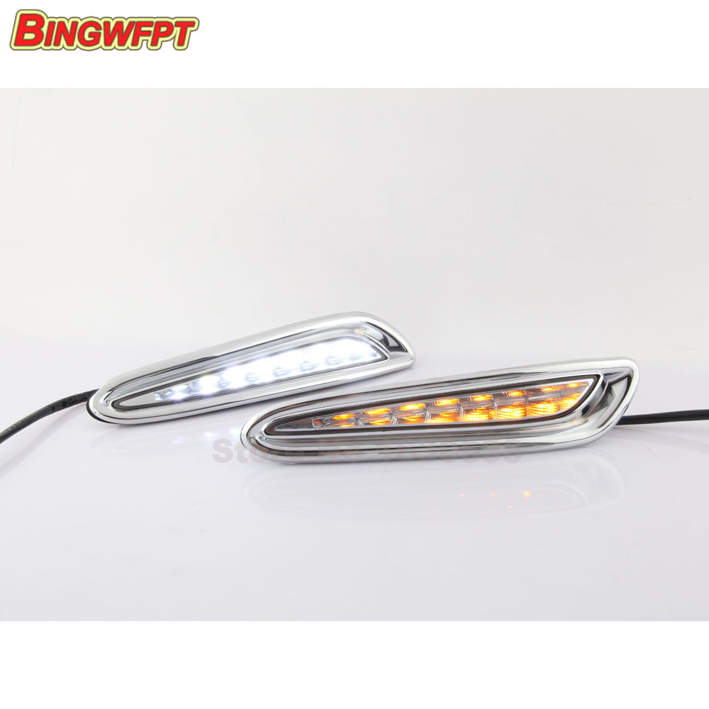 Yellow Turning Signal Style Relay Car DRL 12V LED Daytime Running Light Daylight with fog lamp For Mazda 3 2010 2011 2012 2013 for mazda 3 2010 2011 2012 2013 led drl daytime running light with yellow turning signal waterproof fog lamp 2pcs car stying