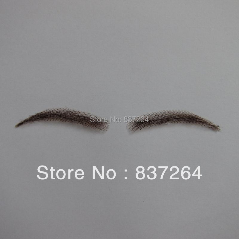 custom whole sale false eyebrow 0117 hand made human hairr hand knot fake eyebrow 2# dark brown color