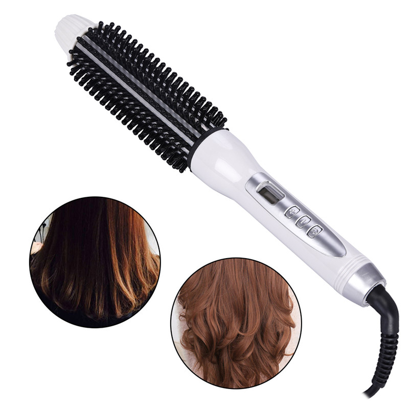 Curling Iron Temperature Adjustable  Electric Brush Hair ceramic heat plate with comb with  LCD  for  Curler/Straightener Style kemei km 173 led adjustable temperature ceramic electric tube hair curler