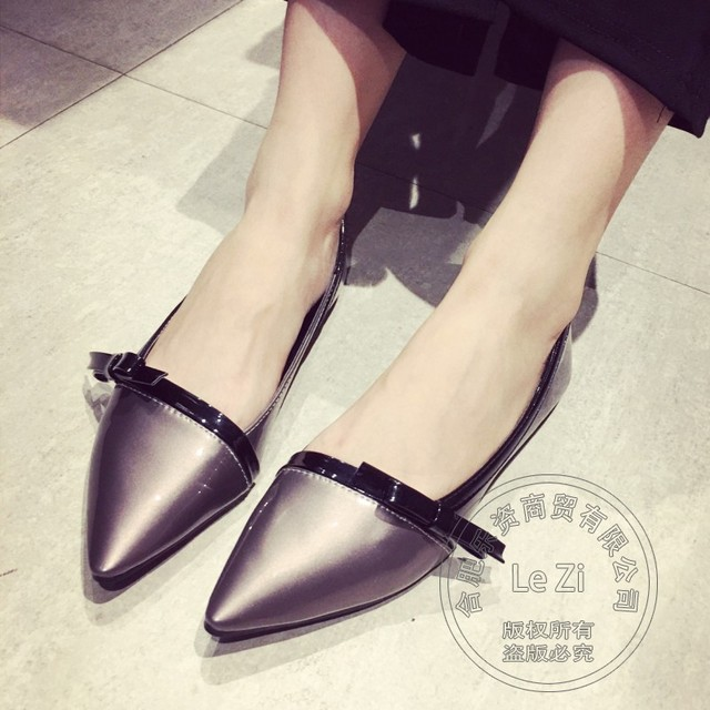 Glossy Plain Single Shoes Women Flats Glamour Low Top Lightweight Pu Solid Womens Shoes Slender Pointed Toe Flats