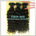 "Curly, 3pcs/lot 14""-28"", Free Shipping, 100% Virgem Cabelo Humano Hair Extension Same Length Available, 1b(95-100g/pc) Ring hair"