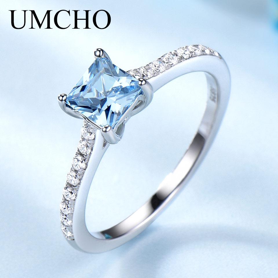UMCHO Sky Topázio Azul Anéis para As Mulheres Anel de Pedras Preciosas Real Sólido 925 Sterling Silver Coreano Menina Birthstone Presente de Jóias Por Atacado