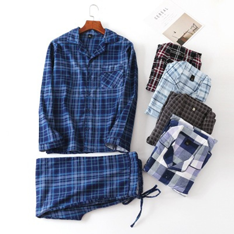 Pure Cotton Men's Pajamas Set Sexy Plaid Man Pyjama Long Sleeve Pants 2Piece/Set Pjs Homewear 2019 Winter Fashion Sleepwear