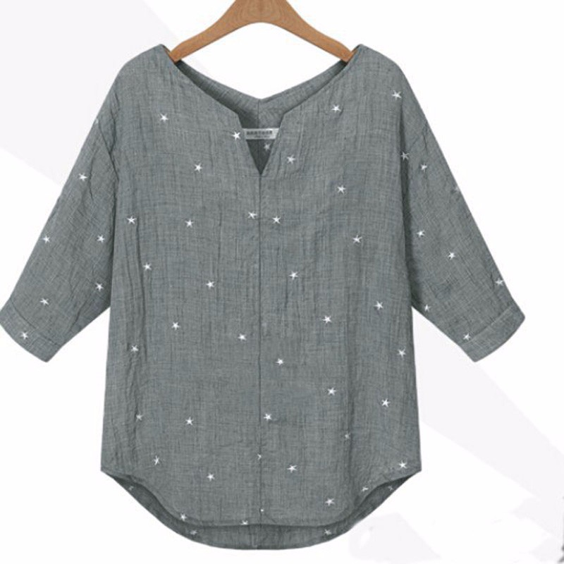 New Summer Autumn Blusas 2018 Kvinnor V-Neck 3/4 Sleeve Toppar Casual Loose Star Printed Blouse Shirts Skjortor