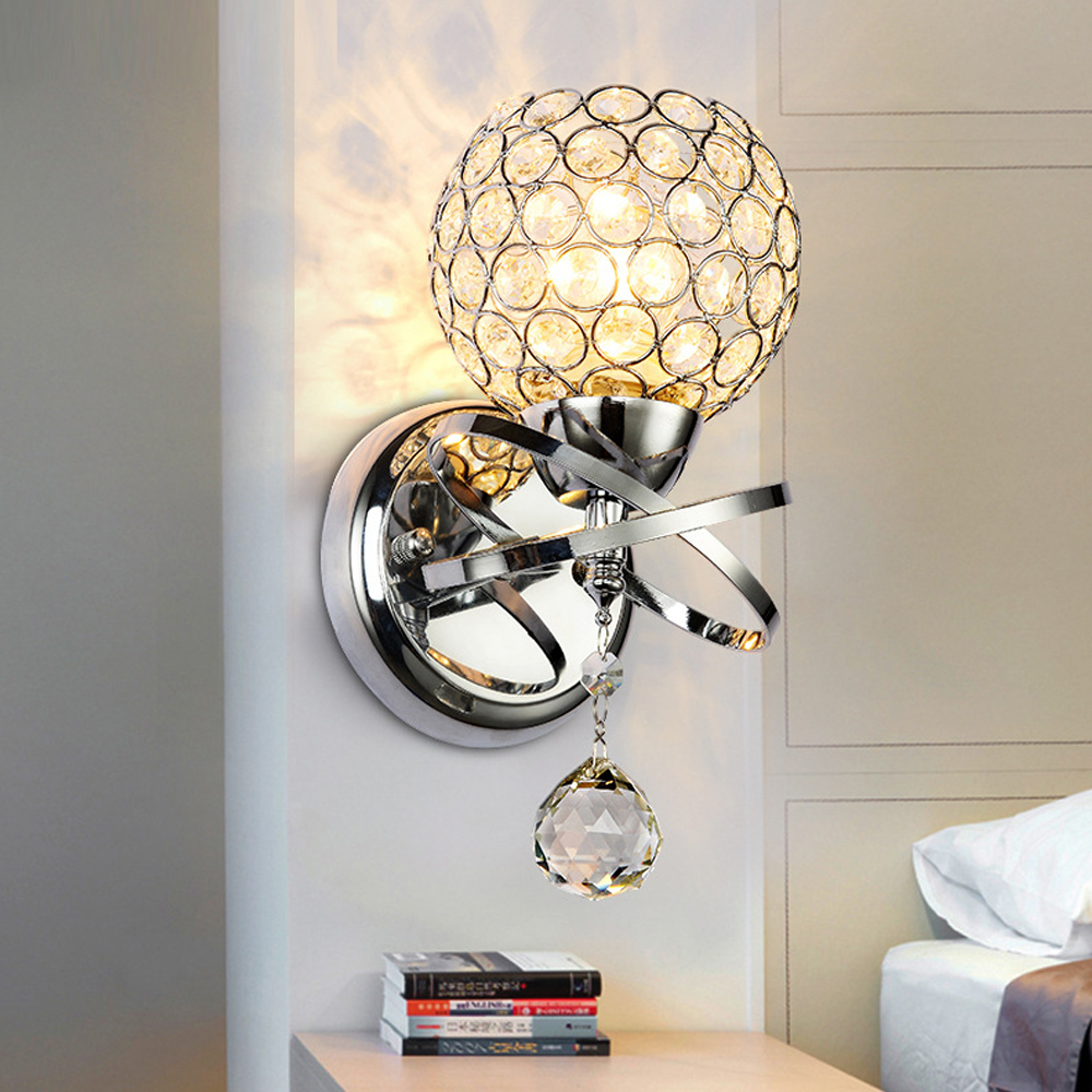 ?Fashionable minimalist modern crystal sconce ? bedroom bedroom bedside wall lights living ? ...