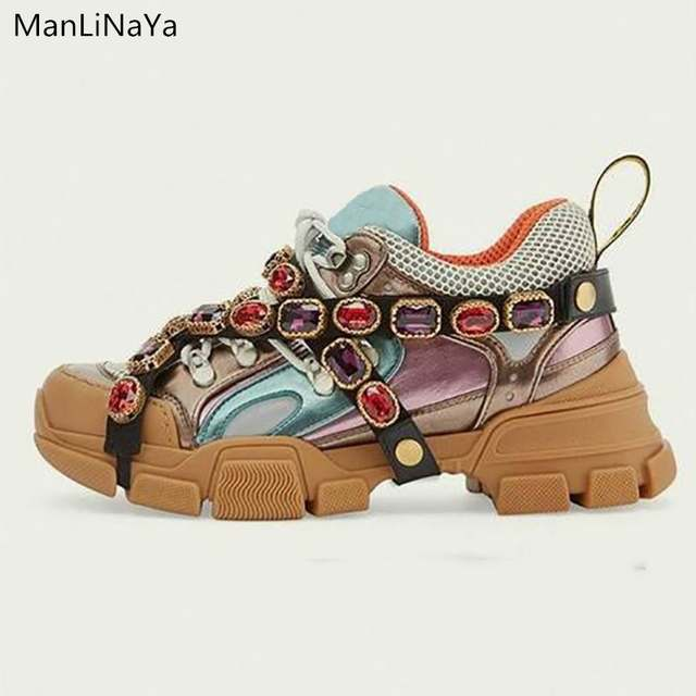 special sales buy popular sale uk Luxury design fashion Air Mesh women's bulky sports shoes shiny ...