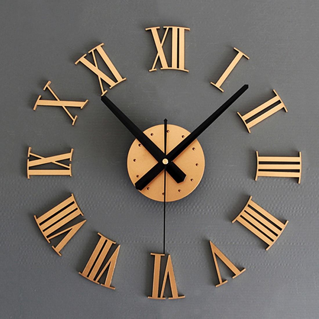 Praktische DIY Luxus 3D Römischen ziffern Wanduhr Große Größe Home Dekoration Kunst Uhr HEIßER (farbe: gold)