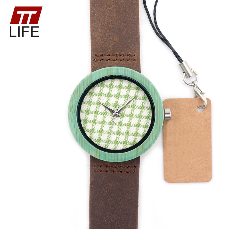 ФОТО TTLIFE Women Fashion Bamboo Wooden Watch Buckle Genuine Brown Leather Band High Quality Miyota Quartz Movement Wirst Watch WD265