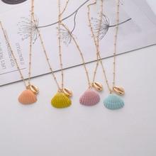 купить Gold Metal Beads Chain Seashell Candy Coating Sea Snail Conch Charm Choker Necklace Korean Summer Fashion Neck Party Jewelry дешево