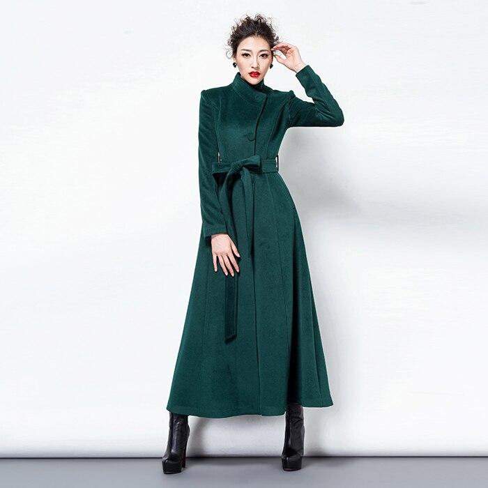 2018 Fashion Elegant Women Long Coat Winter Button Slim Wool Coat Cashmere Overcoat Red Dark Green Black Ladies Coats Korean