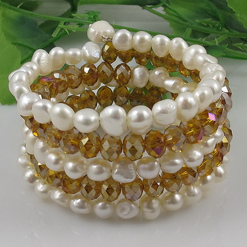 Fashion pearl bracelet AA 7-8MM White Genuine Freshwater pearl Baroque shaper &Gold champagne crystal 5rows Free shipping A2591