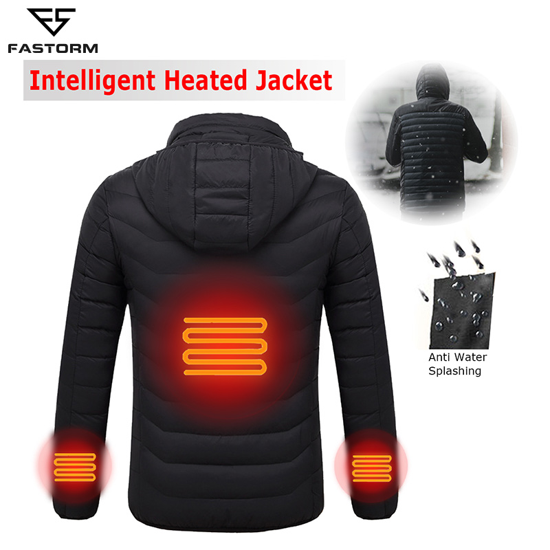 FASTORM Men Winter Jacket USB Infrared Heated Hiking Hooded Waterproof Thermal Outdoor Couple Thermal Coats Goose Down JacketFASTORM Men Winter Jacket USB Infrared Heated Hiking Hooded Waterproof Thermal Outdoor Couple Thermal Coats Goose Down Jacket