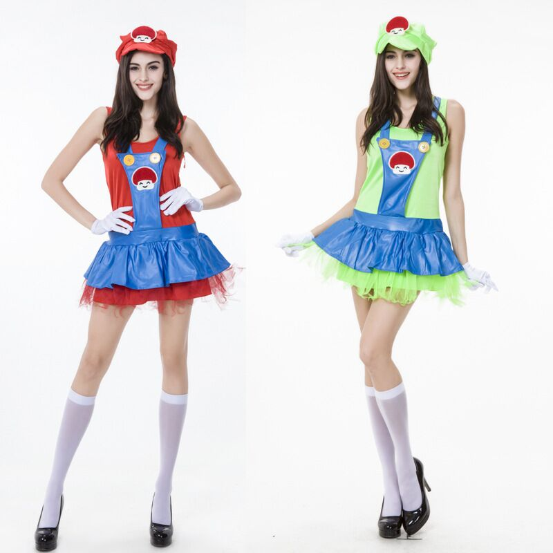 Women's Red Halloween Party Dance Costumes Super Lovely Mario Cosplay Mario Halloween Costumes for Women 2 Colors