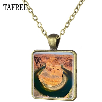 TAFREE American Grand Canyon View Picture Necklace Famous Nature View Square Pendants Necklaces Bronze Plated good Jewelry FA578 image