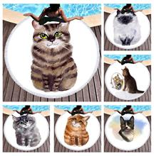 Free shipping Novelty Gift Watercolor Cute Animal Cat Tiger Print Fringed Large Round Spa Swim Bath Beach Towel Blanket