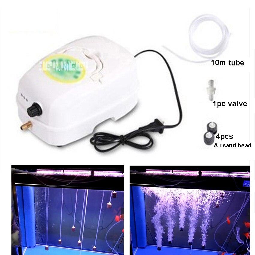 YL-3200 Portable Ultra silencieux AC/DC Aquarium pompe à Air AC 220 V Aquarium pompe à oxygène 20 W Mini compresseur d'air avec Tube d'air 10 m