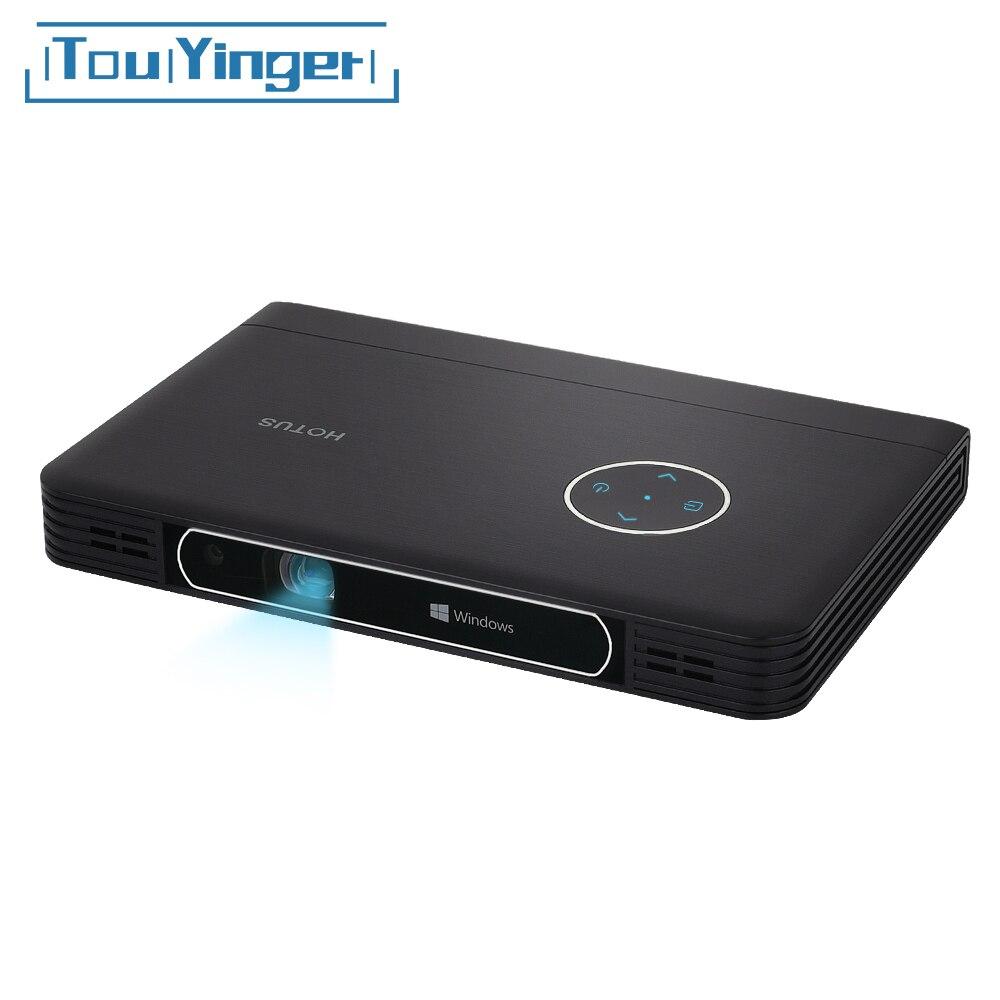 Touyinger W7 Ventana 10 proyector de ordenador soporte Full HD Video DLP Mini portátil WiFi Bluetooth batería de uso para oficina de negocios
