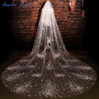 Sapphire Bridal New Amazing Long Gorgerous Veils For Brides Romantic flower High Quality 2 Tiers Cathedral Ivory High End Veil