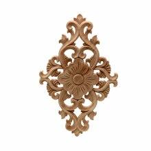Carving-Decal Crafts Furniture Cabinet-Door-Frame Applique Carved-Corner Wood Floral