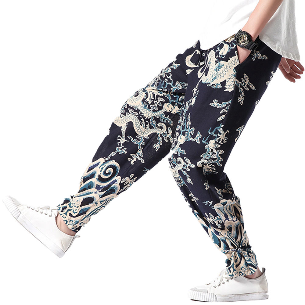 2019 Plus Size Casual Men Pants Chinese Style Dragon Pattern Ethnic Print Cotton Loose Elastic Waist Trousers Harem Pants M-5XL