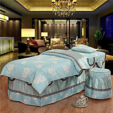 Printing Lace Trim Cosmetic Bedcover Quilt cover (including quilt core) Pillowcase Bench cover Bedding Set 4PCS Green Gray #612(China)