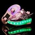 Светящиеся кроссовки с двумя колесами; Usb-зарядка; Светодиодный светильник; Обувь для катания на роликах; Детская обувь; Обувь для мальчиков ...