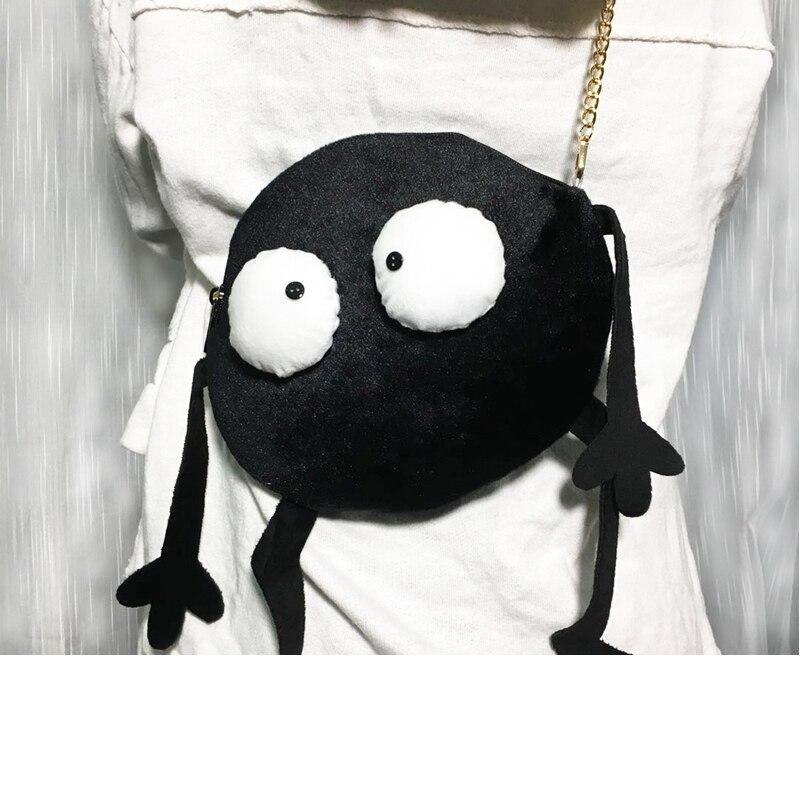 Cute Big Eyes Crossbody Bag Spirited Awayl Plush Backpack Funny Long Belt Cartoon Figure Crossbody Bag Children Like Handbag