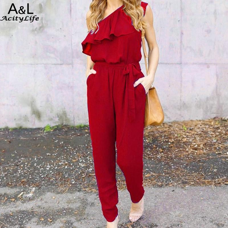 FANALA Jumpsuits 2017 Summer Ruffles Chiffon Overalls Sexy Casual One Shoulder Long Playsuits Rompers Women Jumpsuit Plus Size