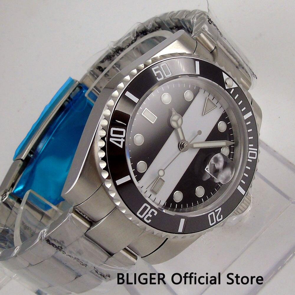 BLIGER 40 мм стерильный циферблат большие часы лицо черный керамический ободок светящиеся знаки сапфировое стекло Miyota автоматические Move Мужские t часы - 2