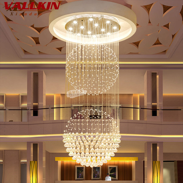 Online Shop Luxury Villa Crystal Chandeliers Lighting Fixtures LED ...