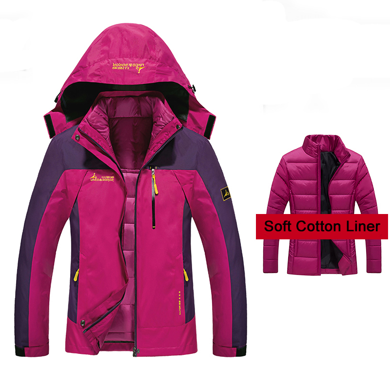 Winter 2 Pieces Inside Cotton-Paded Women Hiking Jackets Outdoor Sport Waterproof Thermal Ski Camping Climbing Female Jackets