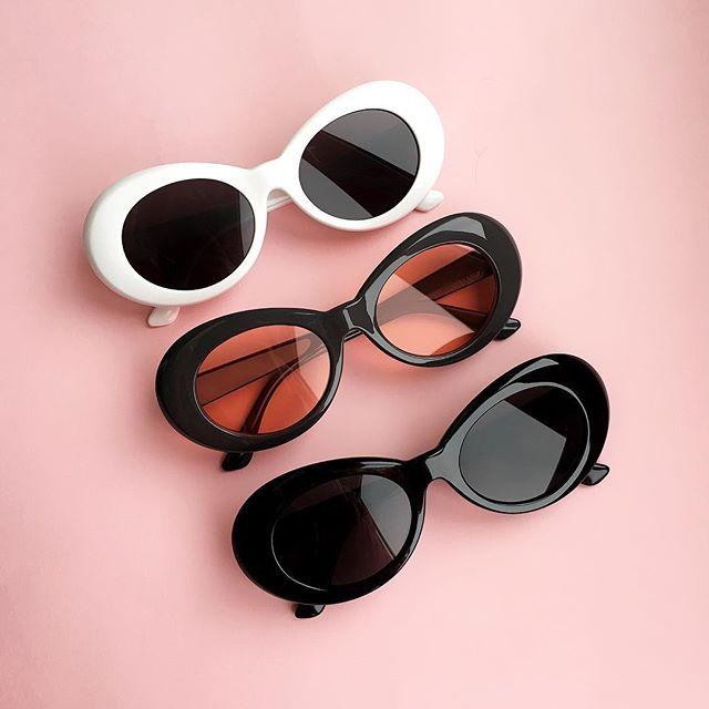 2018 goggle Kurt Cobain glasses oval sunglasses ladies trendy 2018 hot Vintage retro sunglasses Women's white black eyewear UV