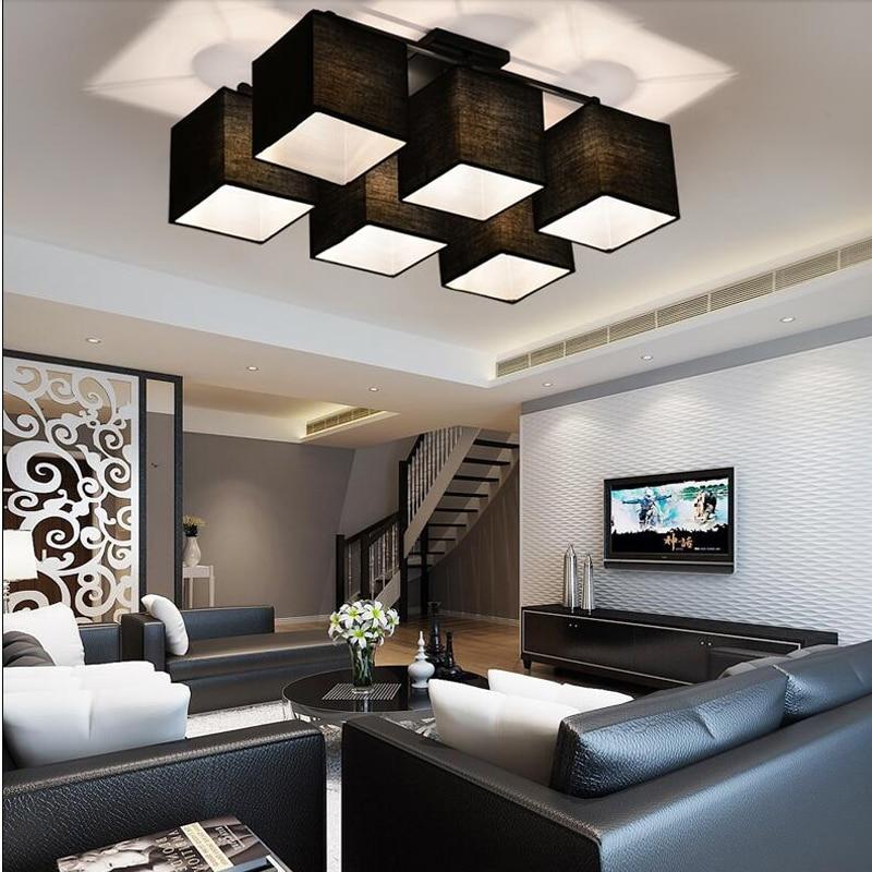 led hanglampen eenvoudige stof lampenkap moderne lamparas