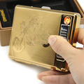 Metal Cigarette Case box with Rechargeable Flameless Electronic USB Lighter Cigarettes Container Smoking Gadgets for Men