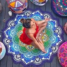 Kadın Chic Püskül Hint Mandala Goblen Lotus Baskılı Bohemian Plaj Mat Yoga Mat Güneş Kremi Yuvarlak Bikini Cover Up Battaniye