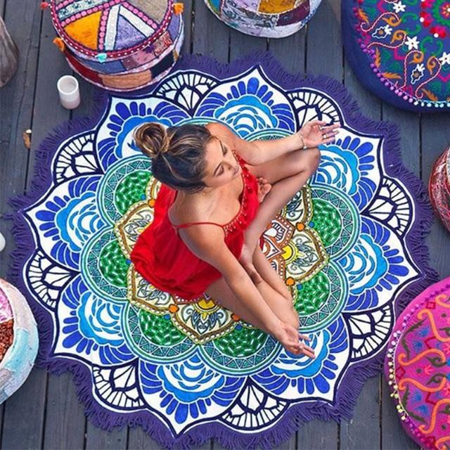 Women Chic Tassel Indian Mandala Tapestry Lotus Printed Bohemian Beach Mat Yoga Mat Sunblock Round Bikini Cover Up Blanket