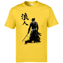 Mens Cool T Shirts Summer Tops Tees Cotton O-Neck Simple Style T-Shirts Japanese Ronin Dark Warrior Printed On Tshirts