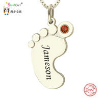StrollGirl 925 Sterling Silver Personalized Mothers Necklace Baby Feet Name Necklace with Birthstone Custom Jewelry Gift For Mom