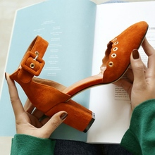 Black Orange Suede Elegant Square Toe Thick High Heels With Belt Buckle 2017 Spring New Fashion Charming Party Banquet Shoes