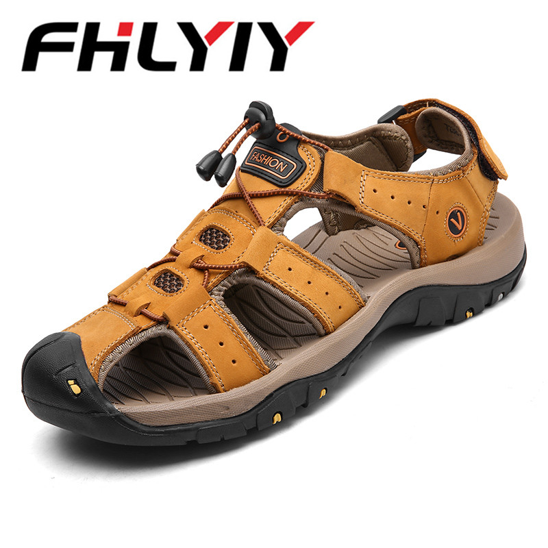 Brand Summer Genuine Leather Sandals Men Casual Shoes Sneakers Outdoor Beach Shoes Native Male Rubber Sole Sandals Big Size 46