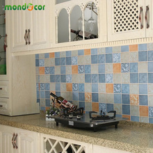 New PVC Vinyl Oil-proof Waterproof Mosaic Wall Sticker Self Adhesive Decal Bathroom Kitchen Backsplash Tile Decorative Wallpaper fashion stainless steel metal mosaic glass tile kitchen backsplash bathroom shower background decorative wall paper wholesale
