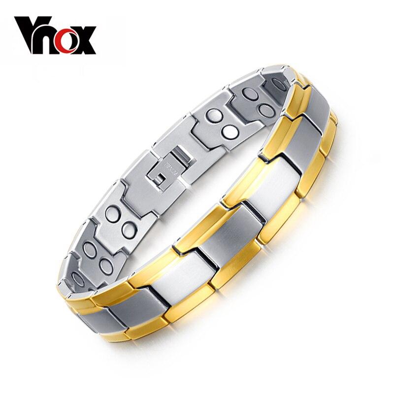 Prix pour Vnox Soins de Santé Magnétique Bracelets pour Hommes Double Rangée Aimant En Acier Inoxydable Chaîne livraison Boîte