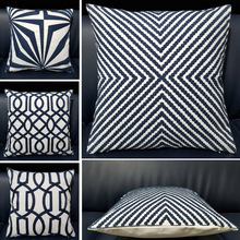 Cotton Canvas Dark Blue Embroidery Pillow Case Sofa Cushion Cover For Chair Cushion Case 45x45cm Sofa Backrest Throw Pillowcase home decorative embroidered cushion cover black white canvas cotton square embroidery pillow cover 45x45cm for sofa living room